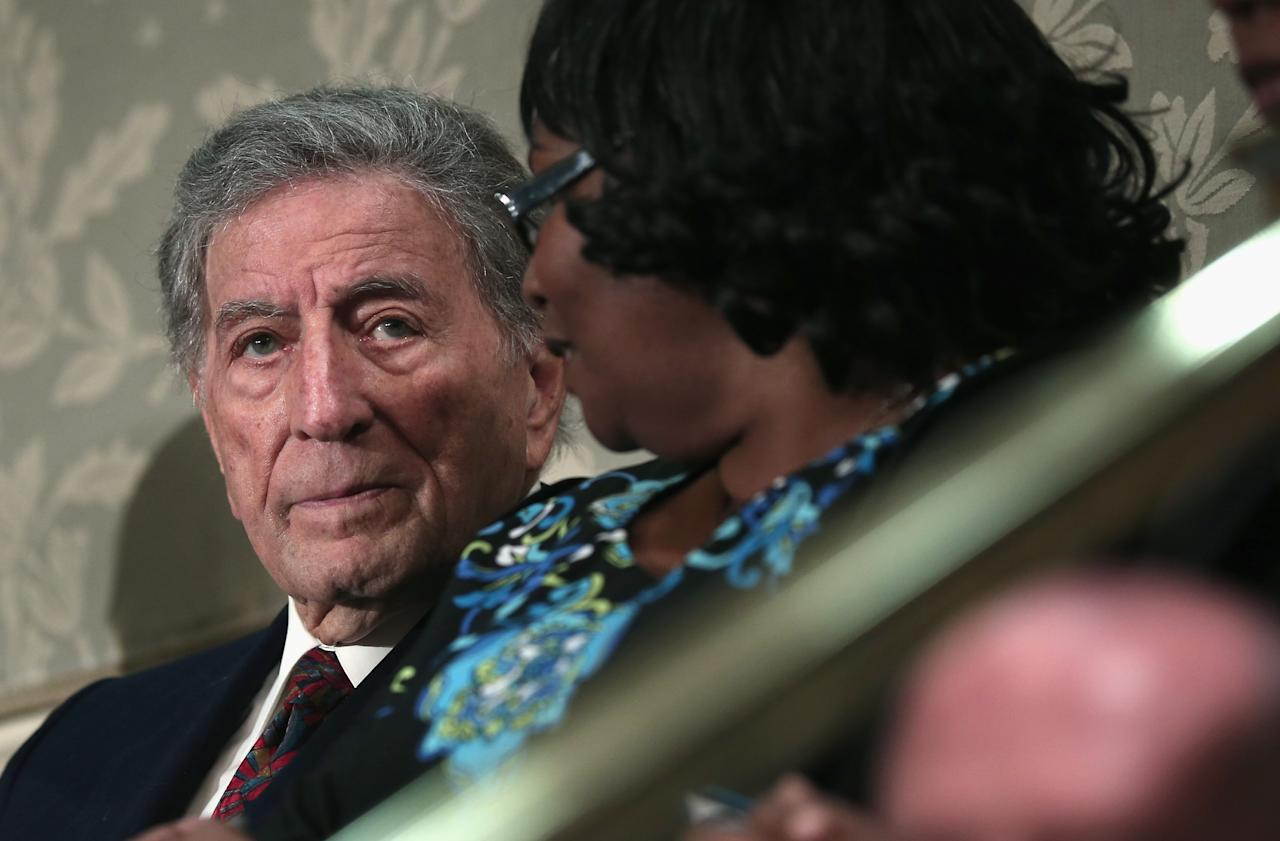 WASHINGTON, DC - FEBRUARY 12:  Singer Tony Bennett sits in the audience, a guest of House Minority Leader Nancy Pelosi (D-CA), for  U.S. President Barack Obama's State of the Union speech before a joint session of Congress at the U.S. Capitol February 12, 2013 in Washington, DC. Facing a divided Congress, Obama is expected to focus his speech on new initiatives designed to stimulate the U.S. economy.  (Photo by Alex Wong/Getty Images)