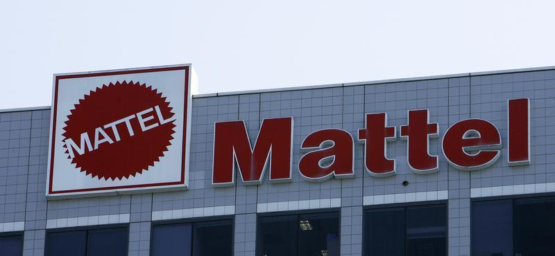 The logo of Mattel is seen outside the company's corporate headquarters in El Segundo