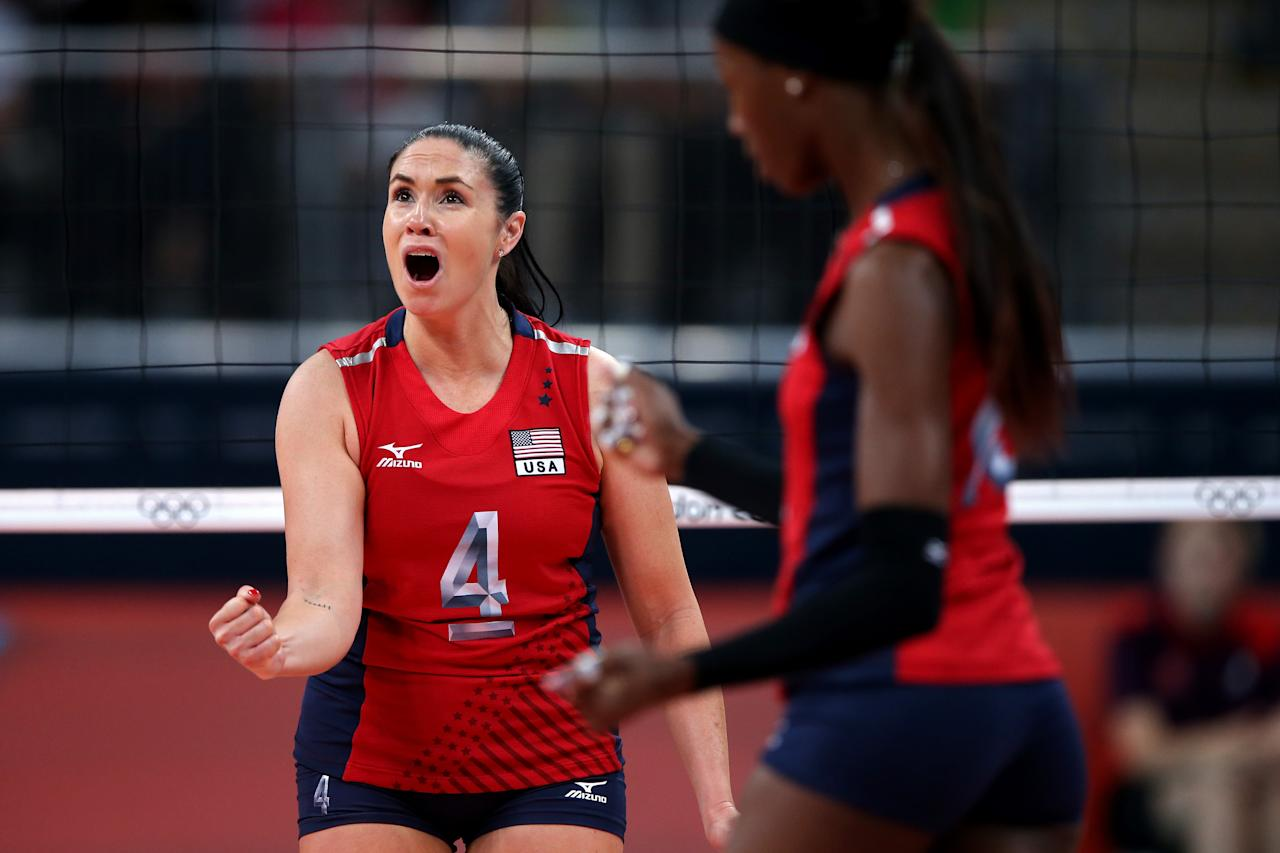 LONDON, ENGLAND - AUGUST 09:  Lindsey Berg #4 of United States reacts after a point against Korea during the Women's Volleyball semifinal match on Day 13 of the London 2012 Olympics Games at Earls Court on August 9, 2012 in London, England.  (Photo by Elsa/Getty Images)