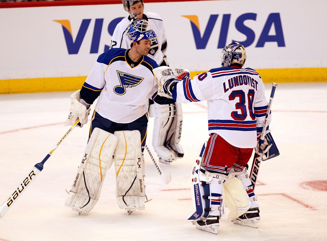 OTTAWA, ON - JANUARY 28:  Team Alfredsson's Henrik Lundqvist #30 of the New York Rangers talks with Goalie Brian Elliott #1 of the St. Louis Blues during Tim Hortons NHL Elimination Shoot Out part of the 2012 Molson Canadian NHL All-Star Skills Competition at Scotiabank Place on January 28, 2012 in Ottawa, Ontario, Canada.  (Photo by Gregory Shamus/Getty Images)