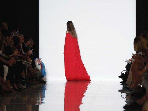 ralph lauren fashion week red dress