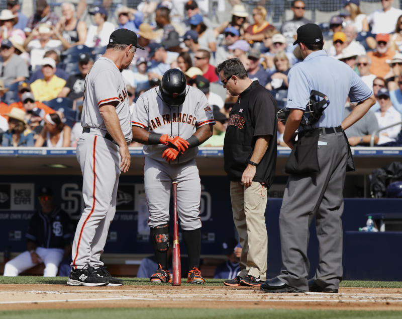 Sandoval leaves game after being hit by pitch