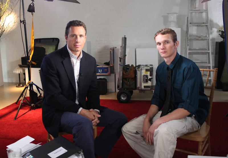 """This undated image released by ABC shows ABC News' Chris Cuomo, left, with Aaron Fisher, 18, a victim of former Penn State assistant football coach Jerry Sandusky during an interview airing Friday, Oct. 19, 2012 on the news magazine show """"20/20,"""" at 10 p.m. EST on ABC. Sandusky wants his child sexual abuse charges tossed out """"and/or"""" a new trial, saying the statute of limitations had run out for many of the 45 counts for which he was convicted in June. Currently in a county jail near State College, he is awaiting transfer to the state prison system to begin serving a 30- to 60-year sentence.  Fisher said he was 11 when he met Sandusky and was abused during weekend visits at the Sandusky home. (AP Photo/ABC News)"""