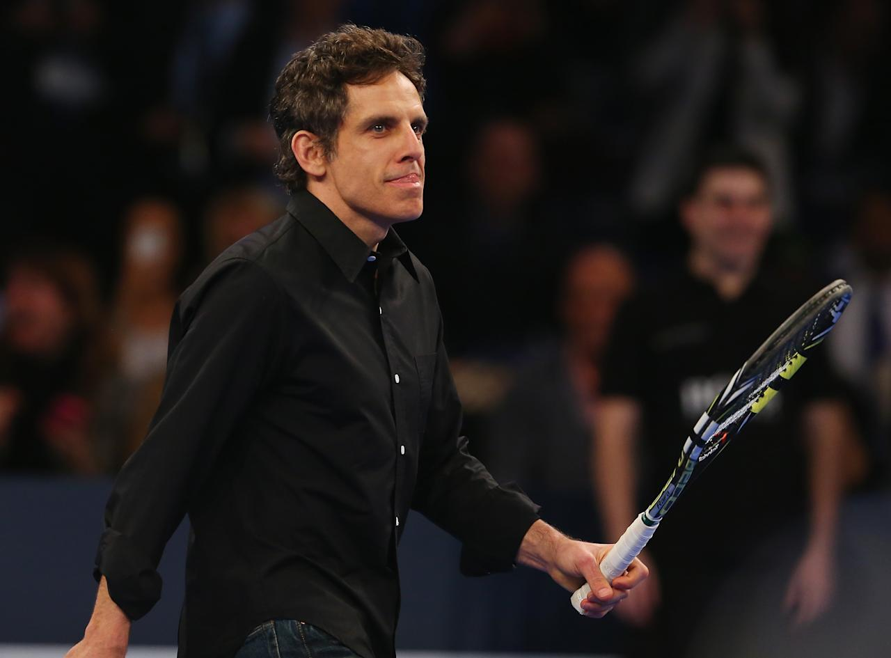 NEW YORK, NY - MARCH 04:  Actor Ben Stiller comes out to play with Rafael Nadal of Spain in the second set against Juan del Potro of Argentina during the BNP Paribas Showdown on March 4, 2013 at Madison Square Garden in New York City.  (Photo by Elsa/Getty Images)