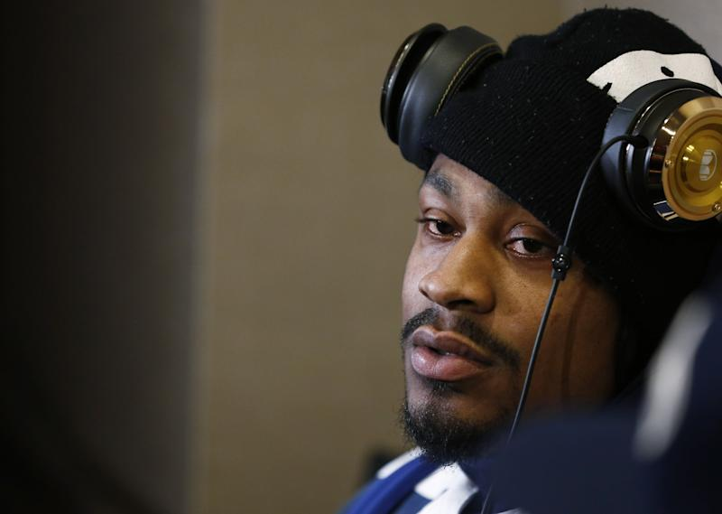 Seattle Seahawks' Marshawn Lynch pictured on January 29, 2014 in Jersey City, New Jersey