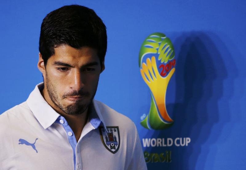 File photo of Uruguay's national soccer team player Luis Suarez attending a news conference prior to a training session at the Dunas Arena soccer stadium in Natal