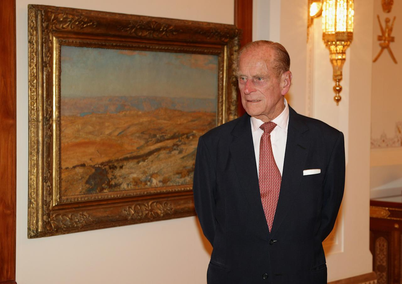 MUSCAT, OMAN - NOVEMBER 26:  Prince Philip, Duke of Edinburgh attends a Tate Gallery event at Al-Alam Palace on November 26, 2010 in Muscat, Oman. Queen Elizabeth II and Prince Philip, Duke of Edinburgh are on a State Visit to the Middle East. The Royal couple have spent two days in Abu Dhabi and three days in Oman.  (Photo by Chris Jackson/Getty Images)