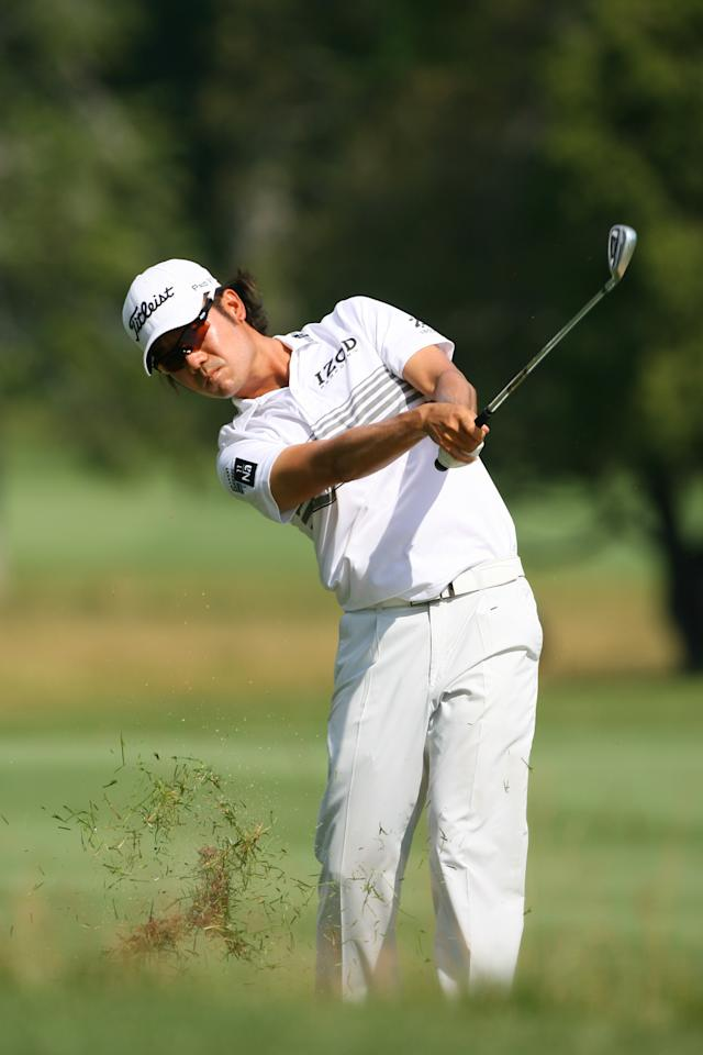 WHITE SULPHUR SPRINGS, WV - JULY 5: Kevin Na hits his second shot on the seventh hole during the first round of the Greenbrier Classic at the Old White TPC on July 5, 2012 in White Sulphur Springs, West Virginia. (Photo by Hunter Martin/Getty Images)