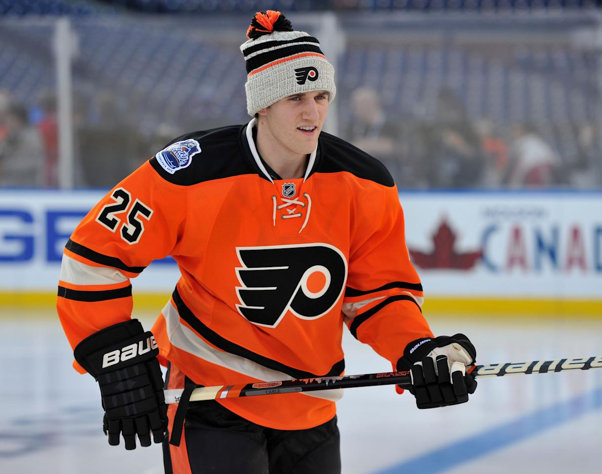 PHILADELPHIA, PA - JANUARY 1: Matt Carle #25 of the Philadelphia Flyers skates out to practice for the 2012 Bridgestone NHL Winter Classic at Citizens Bank Park on January 1, 2012 in Philadelphia, Pennsylvania. (Photo by Christopher Pasatieri/Getty Images)