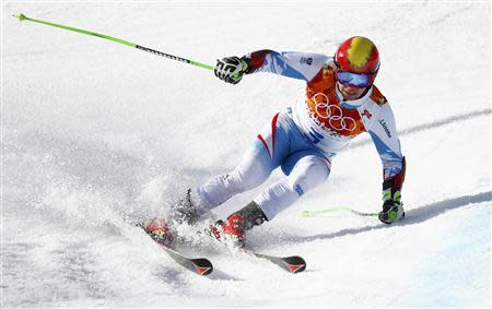 Austria's Hirscher skis during the second run of the men's alpine skiing giant slalom event at the 2014 Sochi Winter Olympics