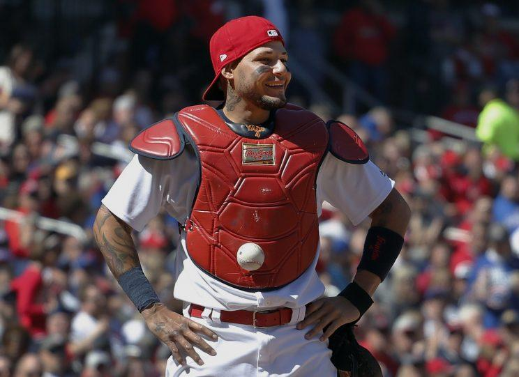 Ball sticks to catcher's chest protector in Cardinals game