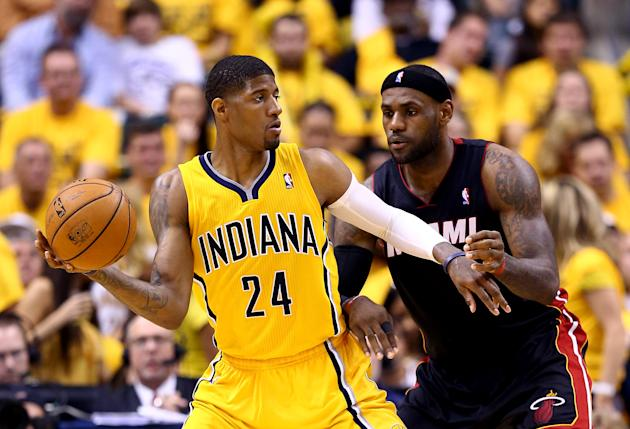 Paul George and the Pacers will be seeing more of LeBron in the Central next year. (Andy Lyons/Getty Images)