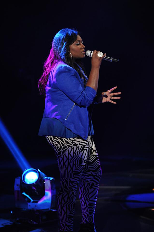 "Candice Glover performs ""Next to Me"" on the Wednesday, May 8 episode of ""American Idol."""