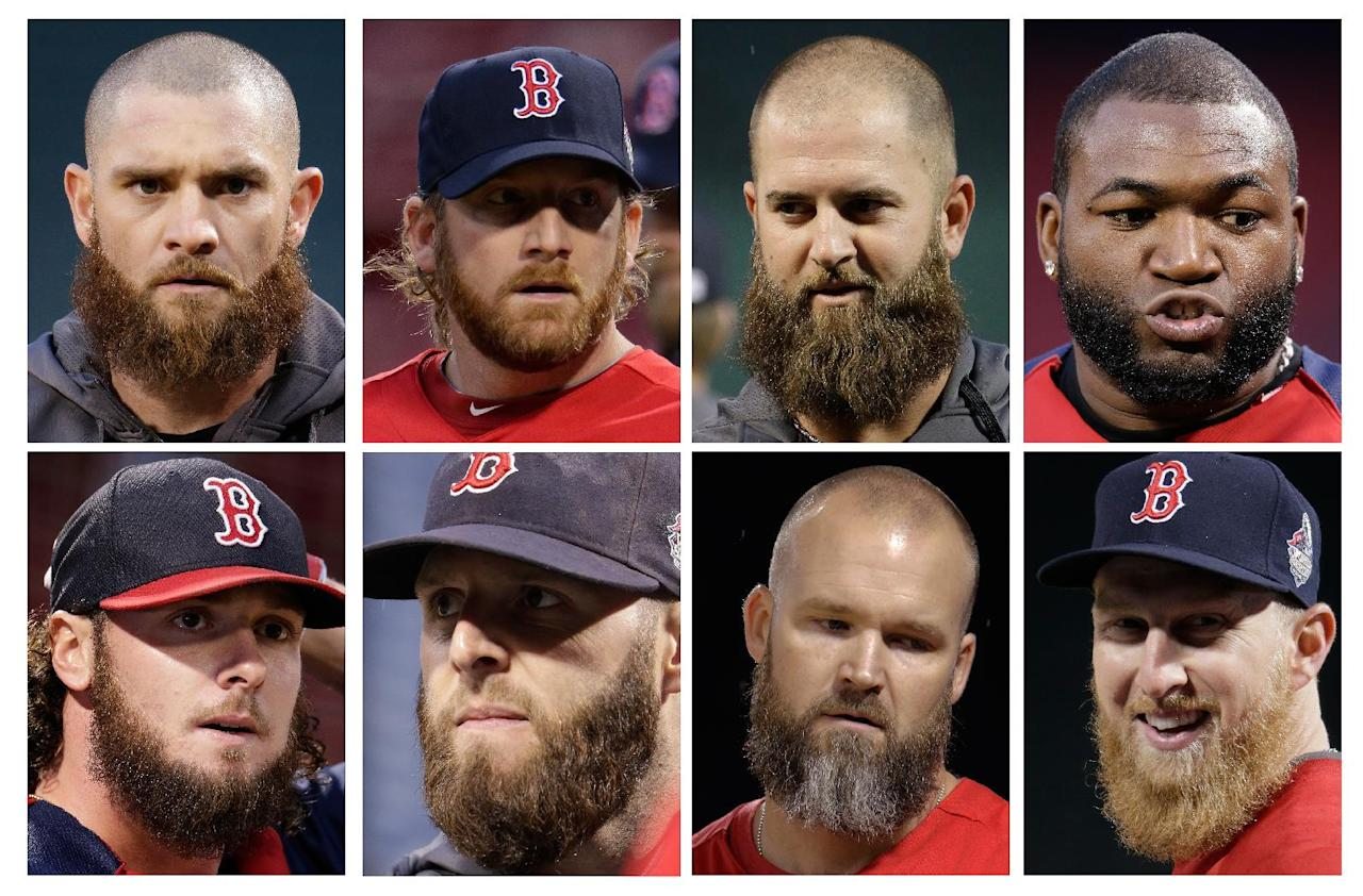 In this combo of photos, Boston Red Sox players, top row from left, Jonny Gomes, Ryan Dempster, Mike Napoli and David Ortiz, and bottom row from left, Jarrod Saltalamacchia, Dustin Pedroia, David Ross and Mike Carp sports beards during a workout at Fenway Park Tuesday, Oct. 22, 2013, in Boston. The Red Sox are scheduled to host the St. Louis Cardinals in Game 1 of baseball's World Series on Wednesday. (AP Photo/Charlie Riedel)