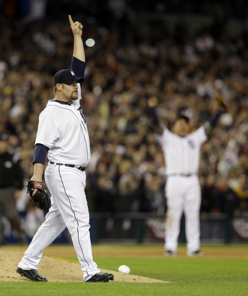 Detroit Tigers' Phil Coke reacts to the final out against the New York Yankees at Game 4 of the American League championship series, Thursday, Oct. 18, 2012, in Detroit. The Tigers won 8-1 and move on to the World Series. (AP Photo/Paul Sancya )