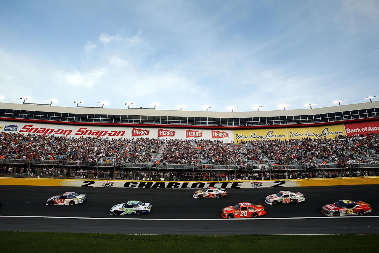 CHARLOTTE, NC - MAY 19:  Cars race during the NASCAR Sprint Showdown at Charlotte Motor Speedway on May 19, 2012 in Charlotte, North Carolina.  (Photo by Scott Halleran/Getty Images for NASCAR)