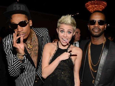 Miley Cyrus Wiz Khalifa funny face sticking tongue out