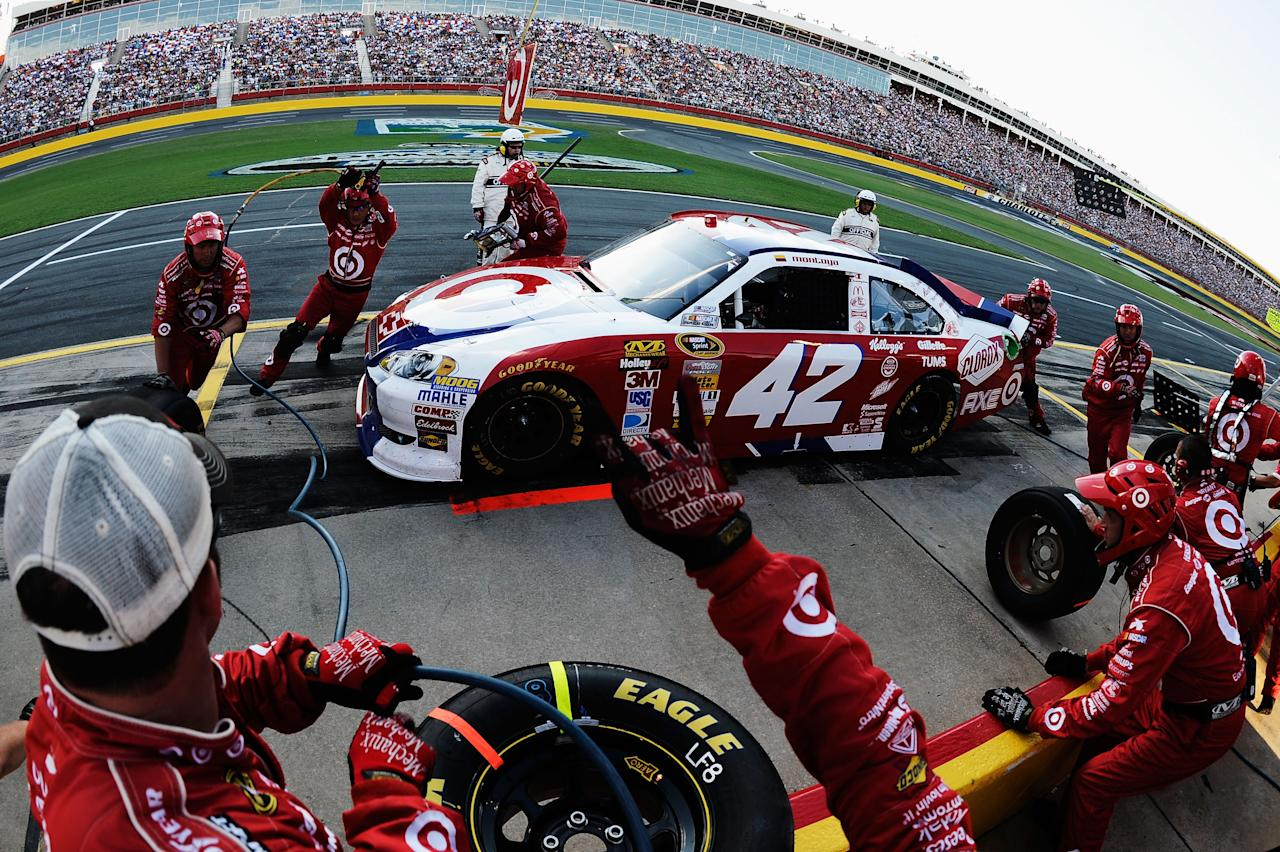 CONCORD, NC - MAY 27:  Juan Pablo Montoya, driver of the #42 Target Chevrolet, pits during the NASCAR Sprint Cup Series Coca-Cola 600 at Charlotte Motor Speedway on May 27, 2012 in Concord, North Carolina.  (Photo by Jared C. Tilton/Getty Images for NASCAR)