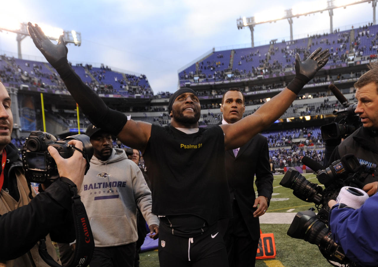 Baltimore Ravens inside linebacker Ray Lewis celebrates after an NFL wild card playoff football game against the Indianapolis Colts Sunday, Jan. 6, 2013, in Baltimore. Lewis has said he will retire at the end of the season, and the Ravens won 24-9. (AP Photo/Gail Burton)