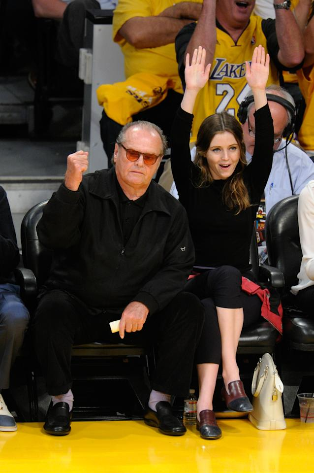 LOS ANGELES, CA - APRIL 26:  Jack Nicholson and his daughter Lorraine Nicholson attend an NBA playoff game between the San Antonio Spurs and the Los Angeles Lakers at Staples Center on April 26, 2013 in Los Angeles, California.  (Photo by Noel Vasquez/Getty Images)
