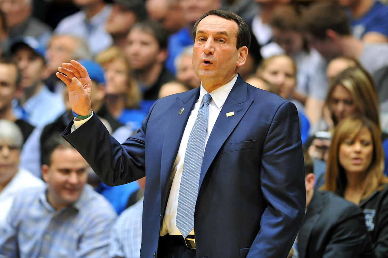 Head Coach Mike Krzyzewski of the Duke Blue Devils instructs his team during a game against the North Carolina State Wolfpack at Cameron Indoor Stadium on February 7, 2013 in Durham, North Carolina. Duke defeated NC State 98-85. (Photo by Lance King/Getty Images)