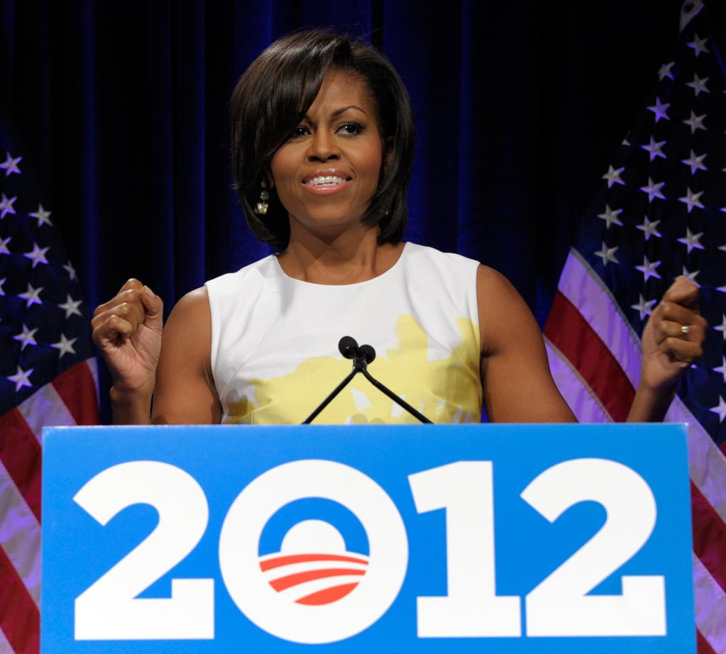 Photo by: (AP Photo/Susan Walsh)<br />Michelle Obama speaks at the Democratic National Committee's Women's Leadership Forum, May 19, 2011.-<br />First lady Michelle Obama speaks at the Democratic National Committee's Women's Leadership Forum in Washington, Thursday, May 19, 2011.