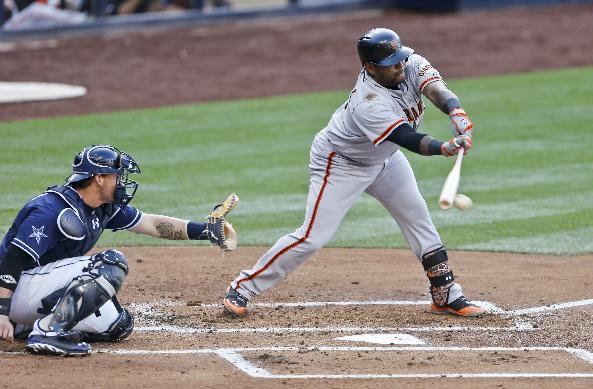 San Francisco Giants' Pablo Sandoval slaps at the ball and grounds out to second in the second inning of a baseball game against the San Diego Padres, Saturday, April 19, 2014, in San Diego. At left is Padres catcher is Yasmani Grandal. (AP Photo/Lenny Ignelzi)