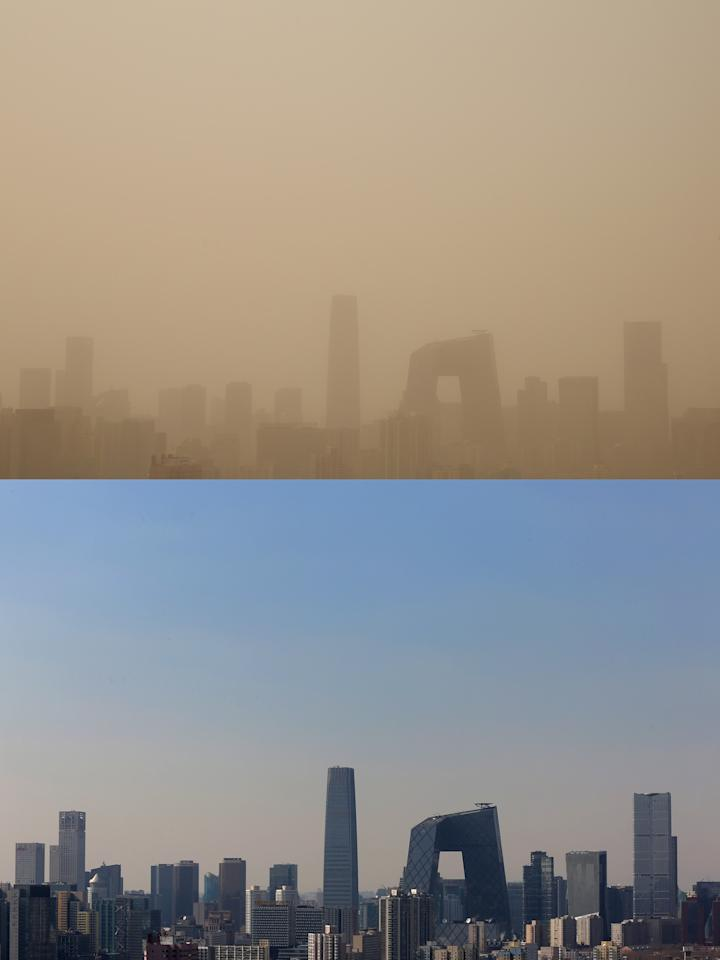 BEIJING, CHINA - FEBRUARY 28:  This composite photograph shows the skyscrapers during the sandstorm on February 28 and the blue sky on February 19, 2013 in Beijing, China. Beijing was hit by its first sandstorm of the year while its air quality reached dangerous level on Thursday.  (Photo by Feng Li/Getty Images)