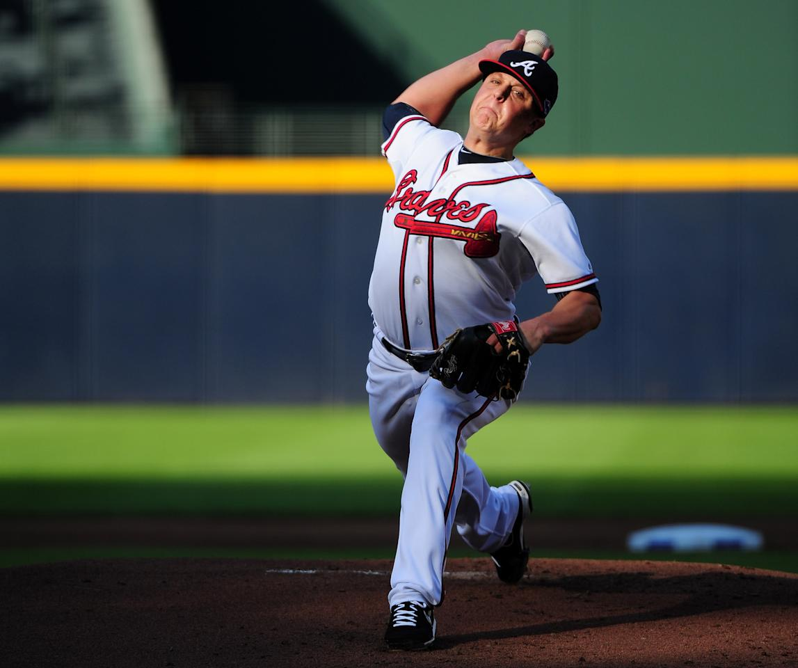 ATLANTA, GA - OCTOBER 05:  Kris Medlen #54 of the Atlanta Braves pitches in the first inning against the St. Louis Cardinals during the National League Wild Card playoff game at Turner Field on October 5, 2012 in Atlanta, Georgia.  (Photo by Scott Cunningham/Getty Images)
