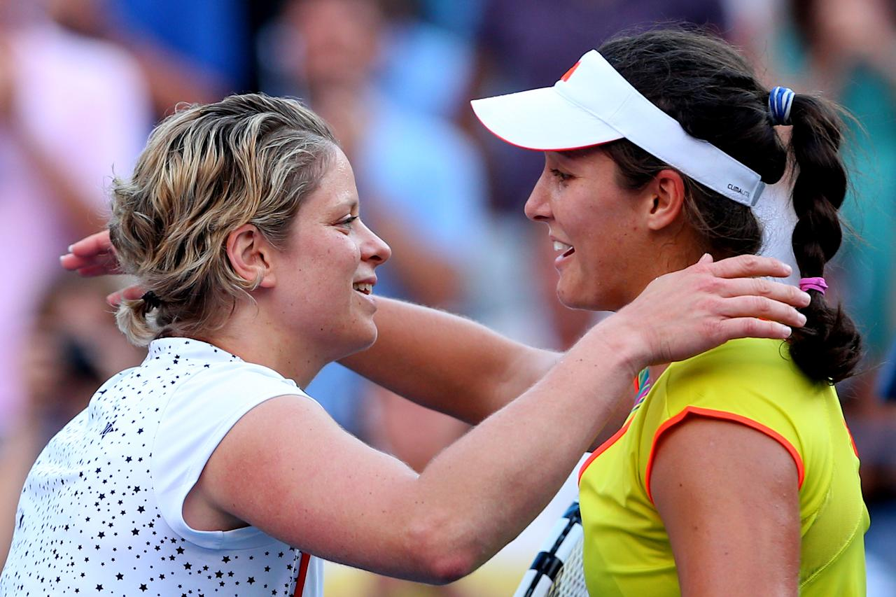 NEW YORK, NY - AUGUST 29:   Kim Clijsters of Belgium congratulates Laura Robson of Great Britain after their women's singles second round match on Day Three of the 2012 US Open at USTA Billie Jean King National Tennis Center on August 29, 2012 in the Flushing neigborhood of the Queens borough of New York City.  (Photo by Cameron Spencer/Getty Images)