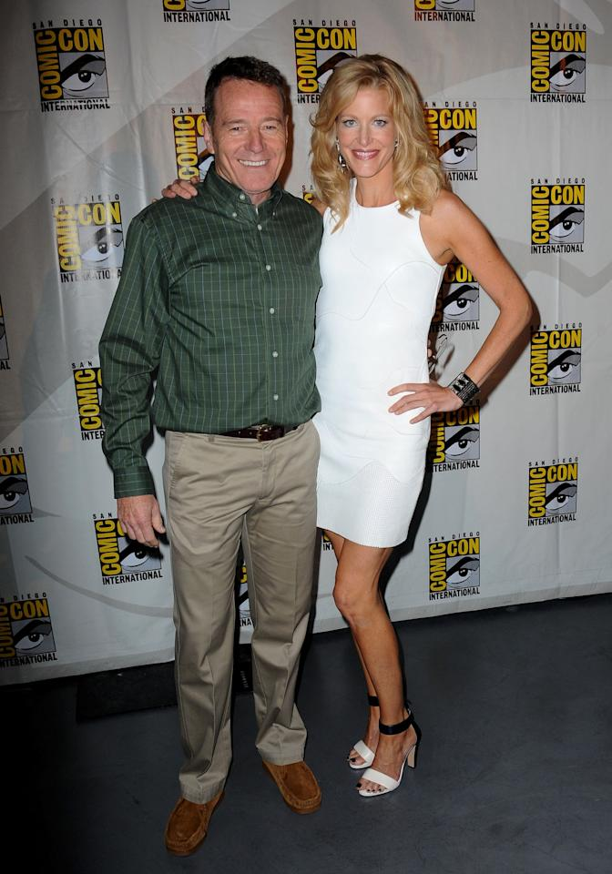 """Bryan Cranston and Anna Gunn at the """"Breaking Bad"""" panel during Comic-Con International 2013 at San Diego Convention Center on July 21, 2013 in San Diego, California."""
