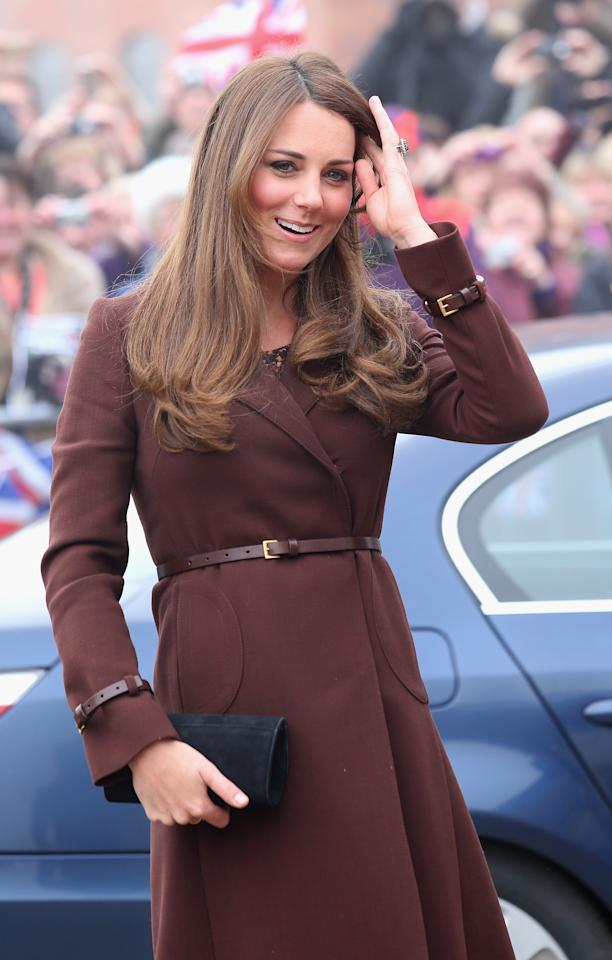 GRIMSBY, ENGLAND - MARCH 05:  Catherine, Duchess of Cambridge arrives at the National Fishing Heritage Centre on March 5, 2013 in Grimsby, England.  The pregnant Duchess of Cambridge is spending the day visiting Grimsby in the North East of England.  (Photo by Chris Jackson/Getty Images)