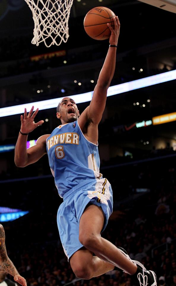 LOS ANGELES, CA - APRIL 13: Arron Afflalo #6 of the Denver Nuggets goes up for a shot against the Los Angeles Lakers at Staples Center on April 13, 2012 in Los Angeles, California. The Lakers won 103-97.  NOTE TO USER: User expressly acknowledges and agrees that, by downloading and or using this photograph, User is consenting to the terms and conditions of the Getty Images License Agreement.  (Photo by Stephen Dunn/Getty Images)
