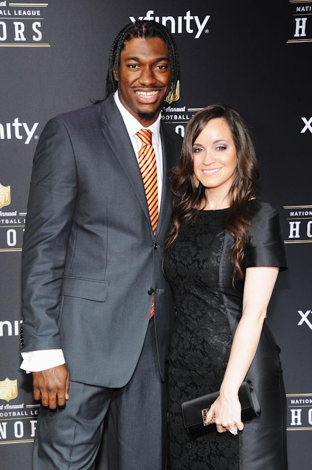 NEW ORLEANS, LA - FEBRUARY 02:  NFL player Robert Griffin III (L) and Rebecca Liddicoat attend the 2nd Annual NFL Honors at Mahalia Jackson Theater on February 2, 2013 in New Orleans, Louisiana.  (Photo by Jamie McCarthy/Getty Images)