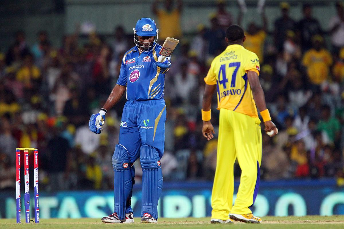 Kieron Pollard and Dwayne Bravo have words after a delivery during match 5 of of the Pepsi Indian Premier League between The Chennai Superkings and the Mumbai Indians held at the MA Chidambaram Stadiumin Chennai on the 6th April 2013..Photo by Ron Gaunt-IPL-SPORTZPICS ..Use of this image is subject to the terms and conditions as outlined by the BCCI. These terms can be found by following this link:..http://www.sportzpics.co.za/image/I0000SoRagM2cIEc