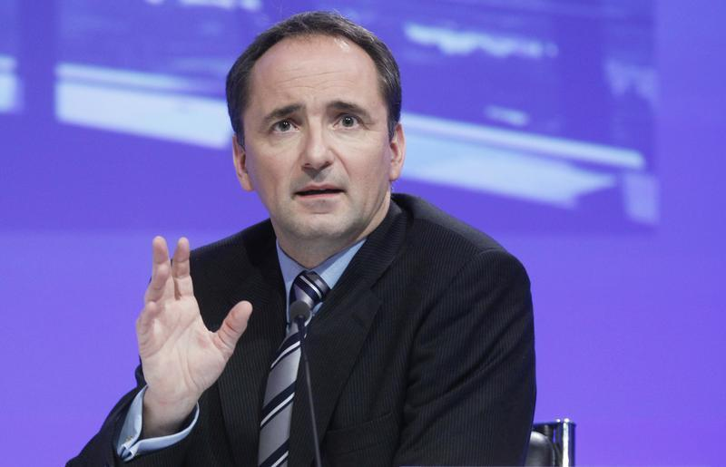 CEO of German software group SAP Snabe attends a news conference in Frankfurt