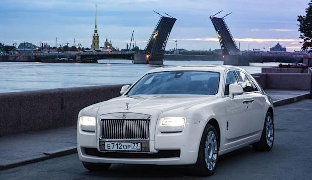 Russia Rolls-Royce St.Petersburg Ghost River Neva and St. Peter and Paul Fortress