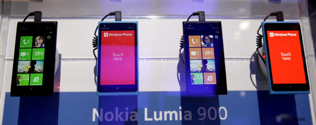 The Nokia Lumia 900 Windows based smartphone is seen at the 2012 International CES tradeshow, Wednesday, Jan. 11, 2012, in Las Vegas. (AP Photo/Julie Jacobson)