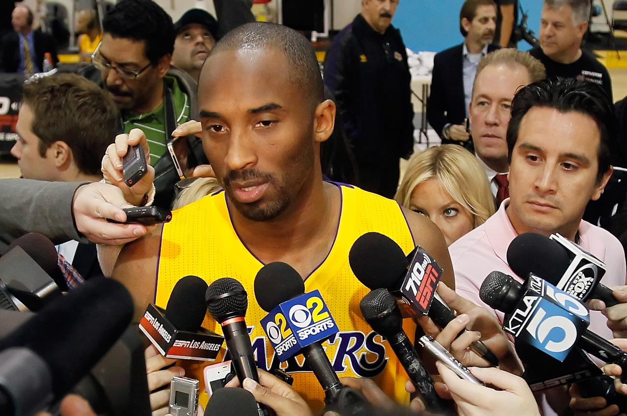 EL SEGUNDO, CA - DECEMBER 11:  Kobe Bryant #24 talks with the media during Los Angeles Lakers Media Day at Toyota Sports Center on December 11, 2011 in El Segundo, California.  (Photo by Jeff Gross/Getty Images)