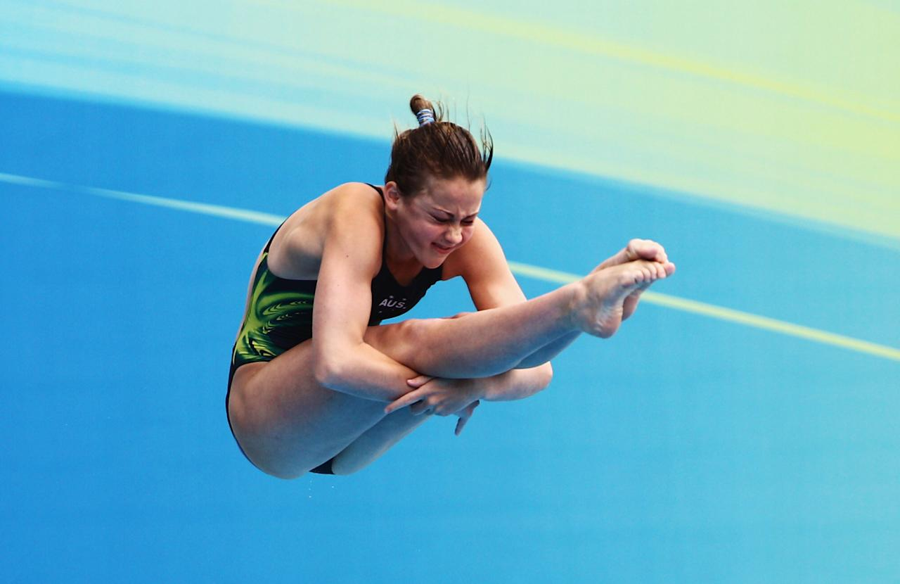 SHANGHAI, CHINA - JULY 19:  Brittany Broben of Australia competes in the Women's 1m Springboard Final during Day Four of the 14th FINA World Championships at the Oriental Sports Center on July 19, 2011 in Shanghai, China.  (Photo by Feng Li/Getty Images)