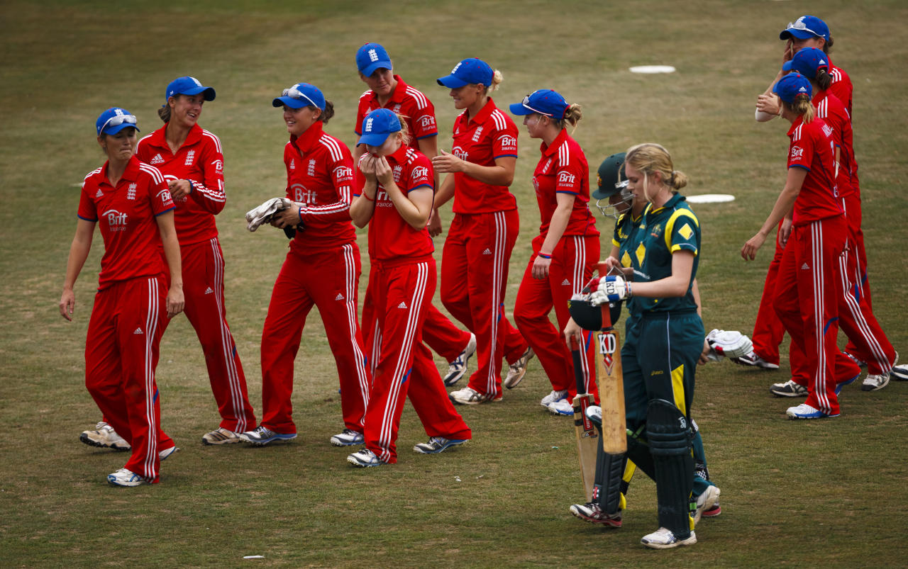 The players leave the field after England won the second One Day International at The County Ground, Hove.