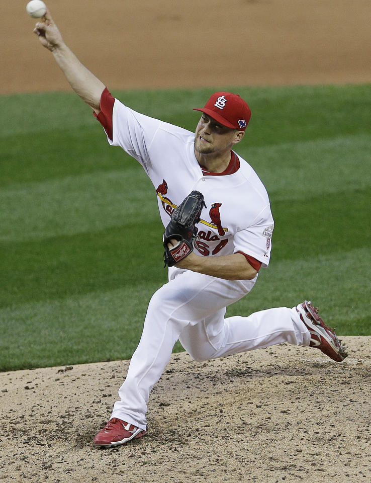 St. Louis Cardinals relief pitcher Trevor Rosenthal (64) works during the sixth inning of Game 3 of baseball's National League championship series against the San Francisco Giants, Wednesday, Oct. 17, 2012, in St. Louis. (AP Photo/Patrick Semansky)