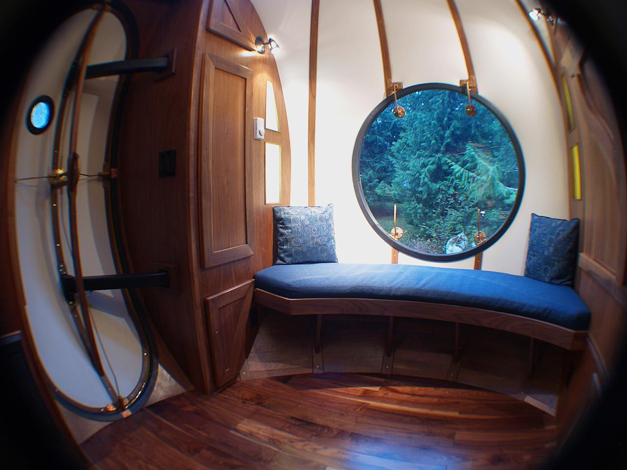 Interior view of a Free Spirit Spheres treehouse is shown in Qualicum Beach on Vancouver Island in a handout photo.Climbing trees and building tree forts are common activities for kids, and often as kids grow up they give up their love for playing in the trees. Tom Chudleigh, on the other hand, has been building tree houses for 20 years.