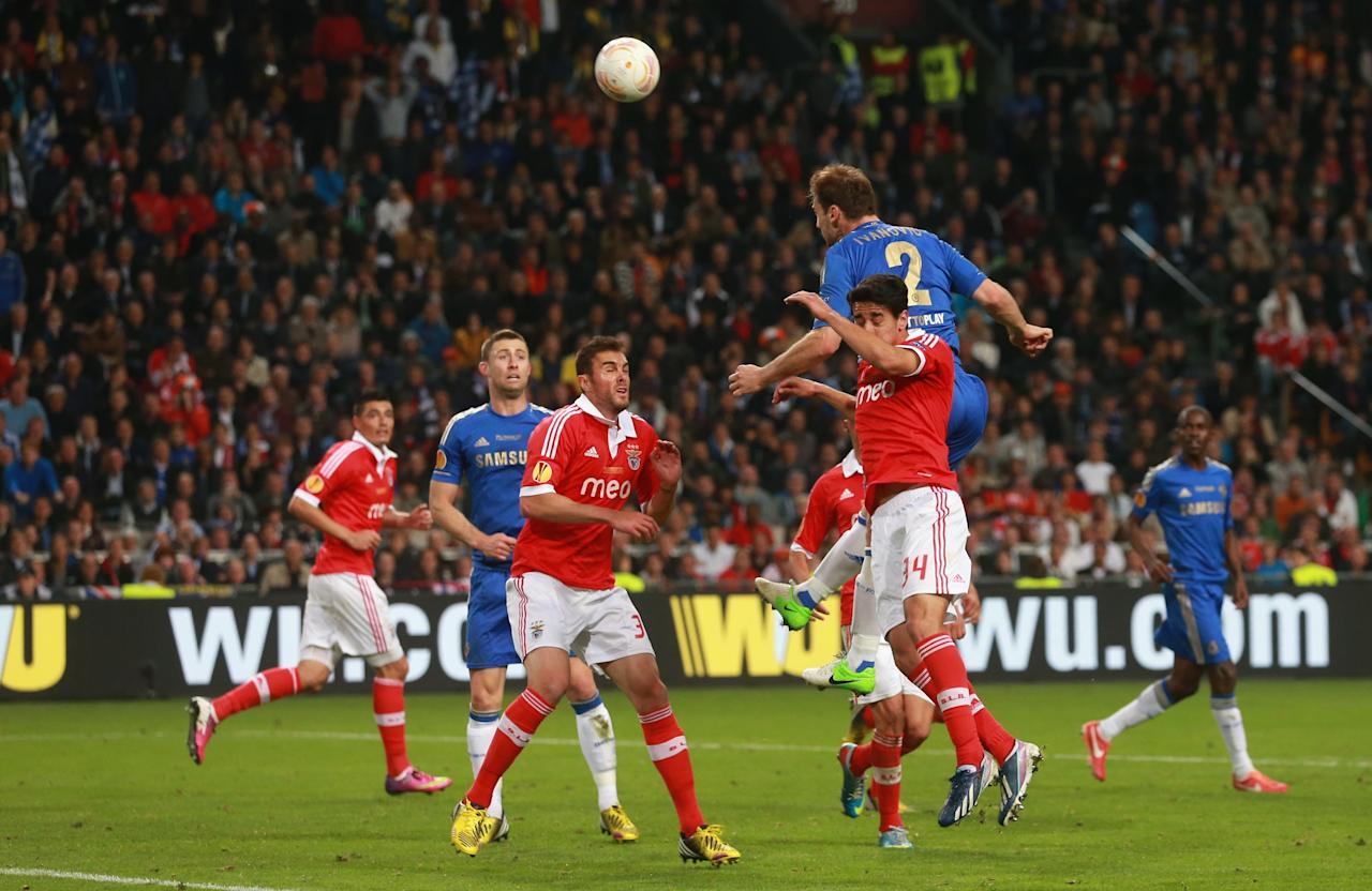 AMSTERDAM, NETHERLANDS - MAY 15:  Branislav Ivanovic of Chelsea rises up to head in their second goal during the UEFA Europa League Final between SL Benfica and Chelsea FC at Amsterdam Arena on May 15, 2013 in Amsterdam, Netherlands.  (Photo by Scott Heavey/Getty Images)