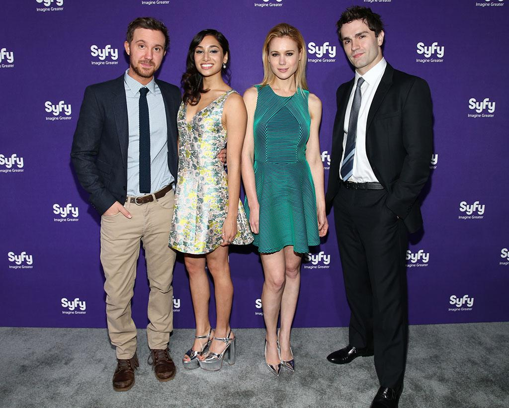 "Sam Huntington, Meaghan Rath, Kristen Hager and Sam Witwer (""Being Human"") attend the Syfy 2013 Upfront at Silver Screen Studios at Chelsea Piers on April 10, 2013 in New York City."
