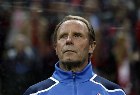 Azerbaijan's coach Berti Vogts is seen before their Euro 2012 qualifying Group A match against Turkey in Istanbul