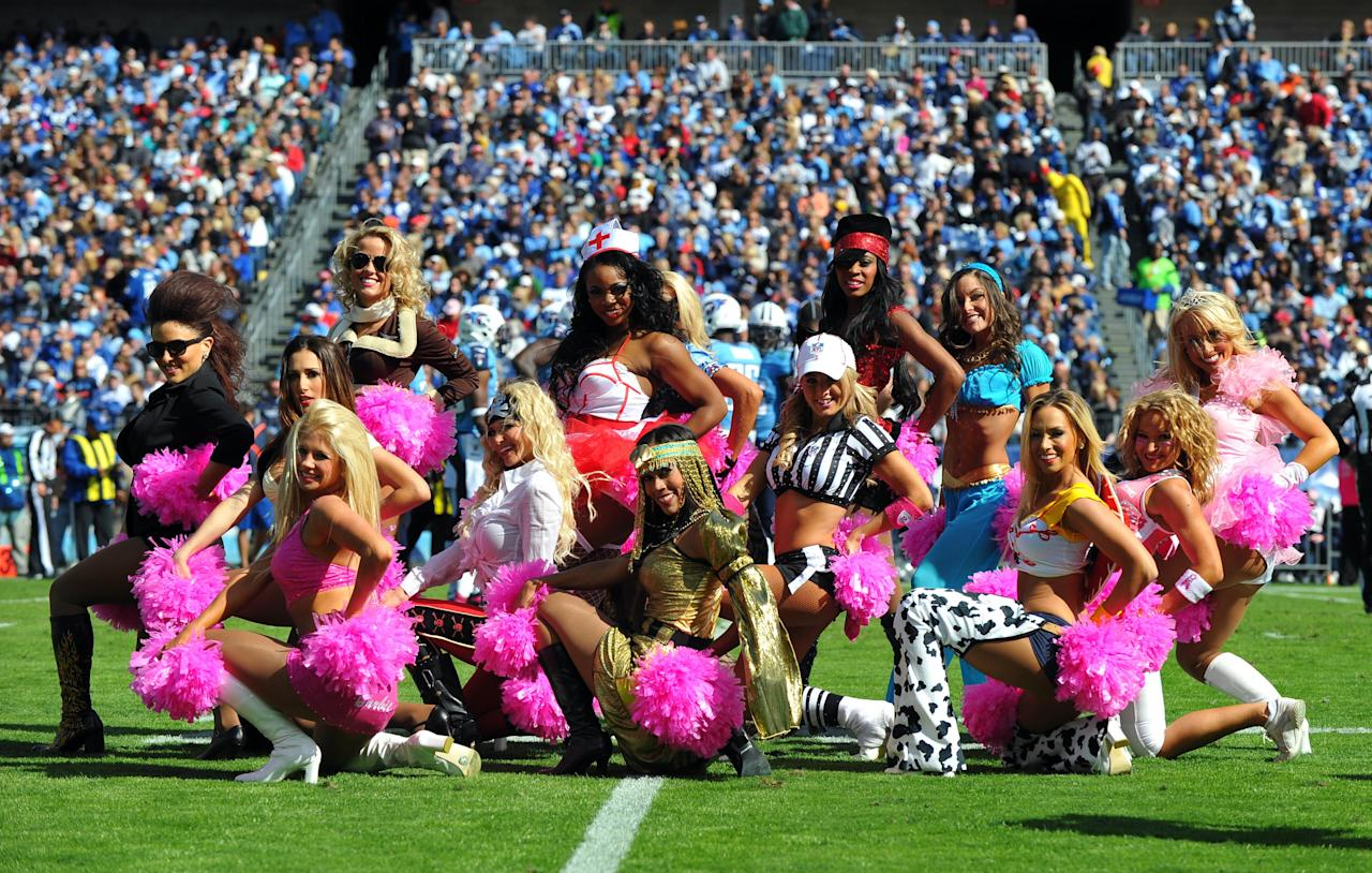 Oct 28, 2012; Nashville, TN, USA; The Tennessee Titans cheerleaders perform in a game against the Indianapolis Colts during the first half at LP Field. The Colts beat the Titans 19-13 in overtime. Mandatory credit: Don McPeak-US PRESSWIRE