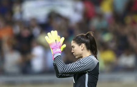 2016 Rio Olympics - Soccer - Preliminary - Women's First Round - Group G USA v France - Mineirao - Belo Horizonte, Brazil - 06/08/2016. Hope Solo (USA) of U.S. reacts. REUTERS/Mariana Bazo