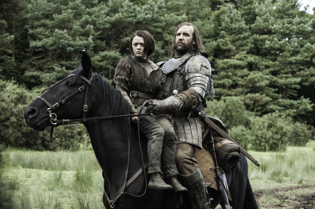 """Maisie Williams and Rory McCann in the """"Game of Thrones"""" episode, """"The Rains of Castamere."""""""