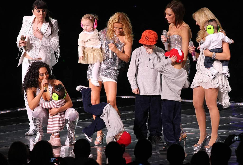 "The Spice Kids make an appearance alongside their moms. Three-year-old Cruz Beckham plays up to the crowd by showing off his breakdancing moves. <a href=""http://www.splashnewsonline.com"" target=""new"">Splash News</a> - February 18, 2008"